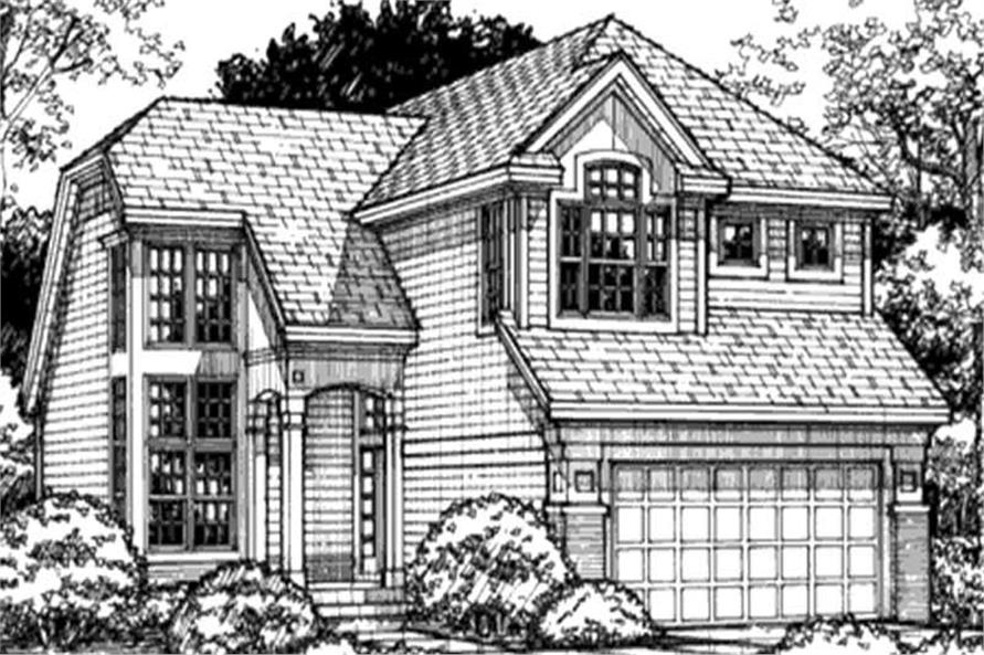 This image shows the front elevation of contemporary houseplans LS-B-93021.