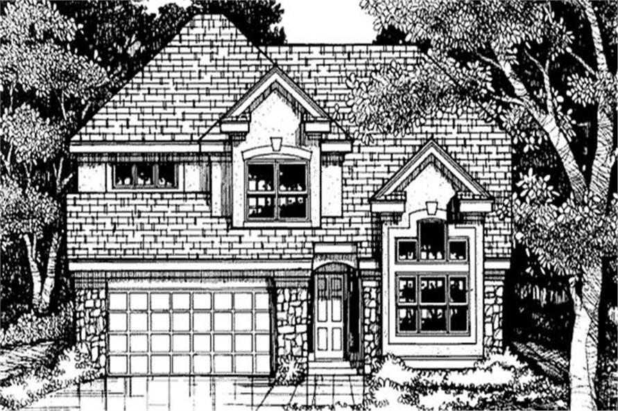 This shows the front elevation of these country homeplans LS-B-93040.