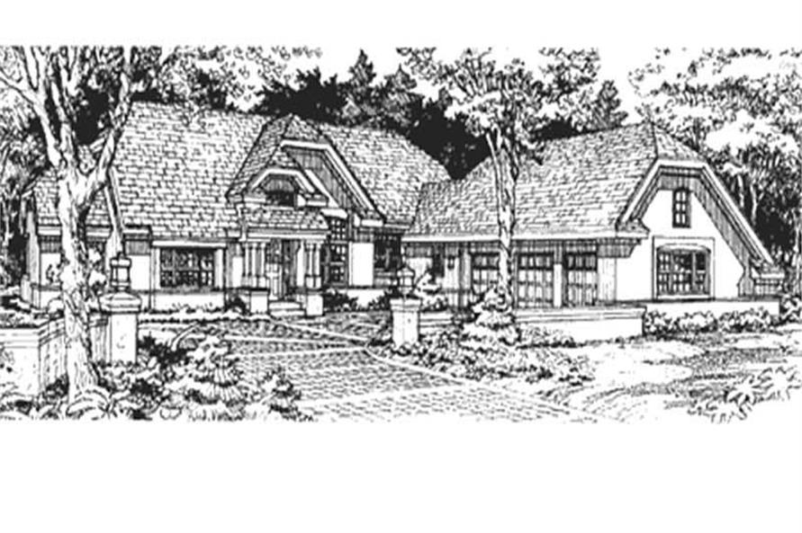 This is the front elevation of these European Houseplans LS-B-93032.