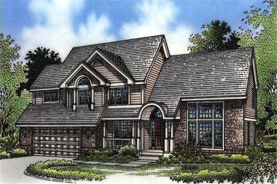 This image shows the front elevation of Country Homeplans LS-B-94015.