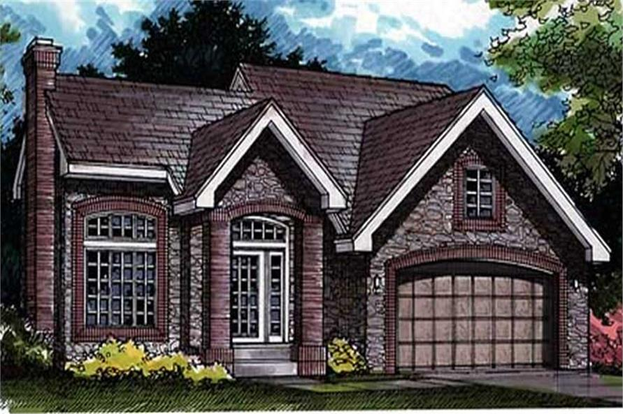 Colored Rendering of Country Houseplans LS-B-91038.