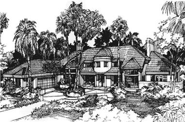 This is the front elevation for these mediterranean house plans LS-B-93025.