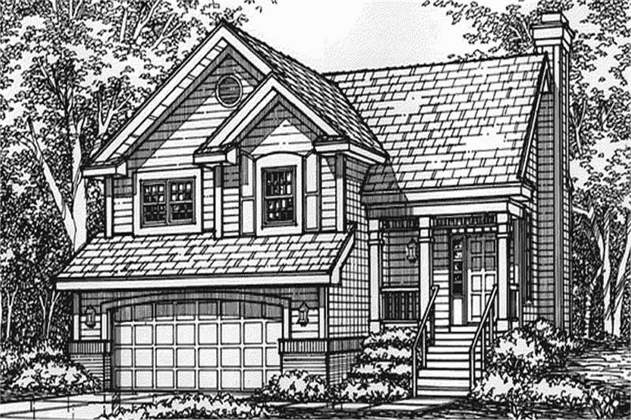 This image shows the front elevation of these country house plans LS-B-93014.
