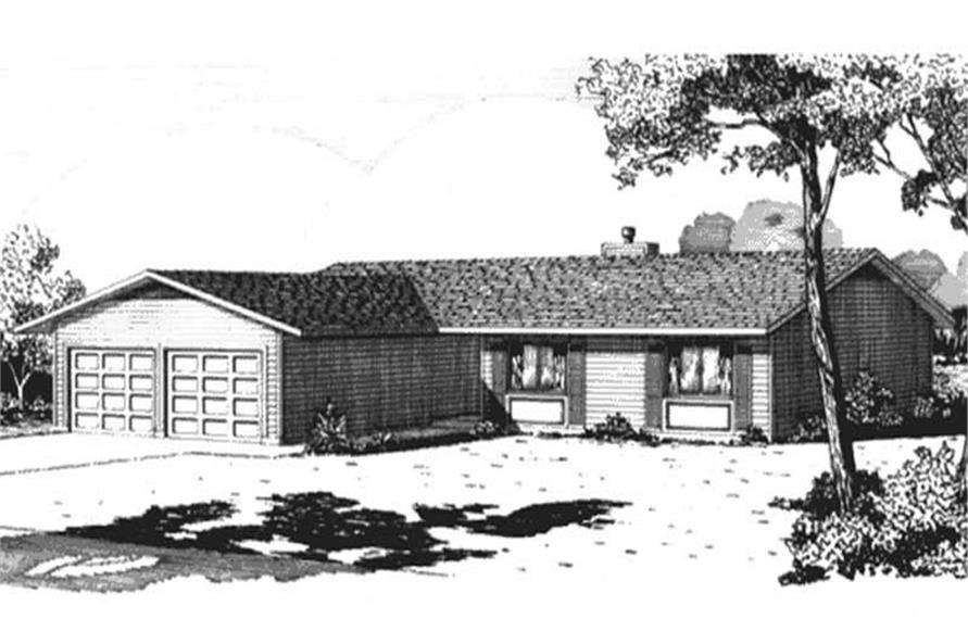 3-Bedroom, 1442 Sq Ft Ranch House Plan - 146-2523 - Front Exterior