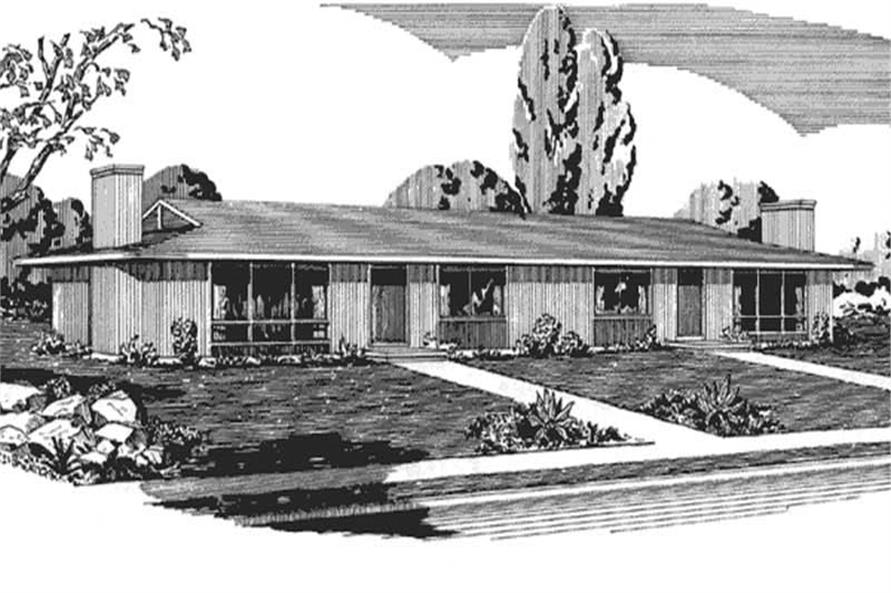 This image shows the front elevation of Ranch House Plans LS-H-566-2A2.