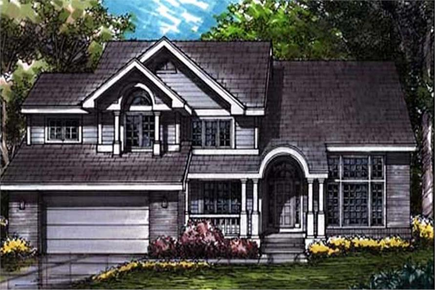 This is the colored front elevation of Country Homeplans LS-B-93019.