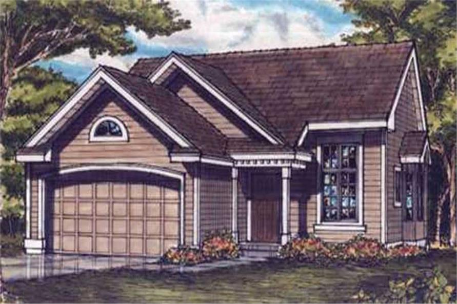 This colored image shows the front elevation of country homeplans LS-B-93015.