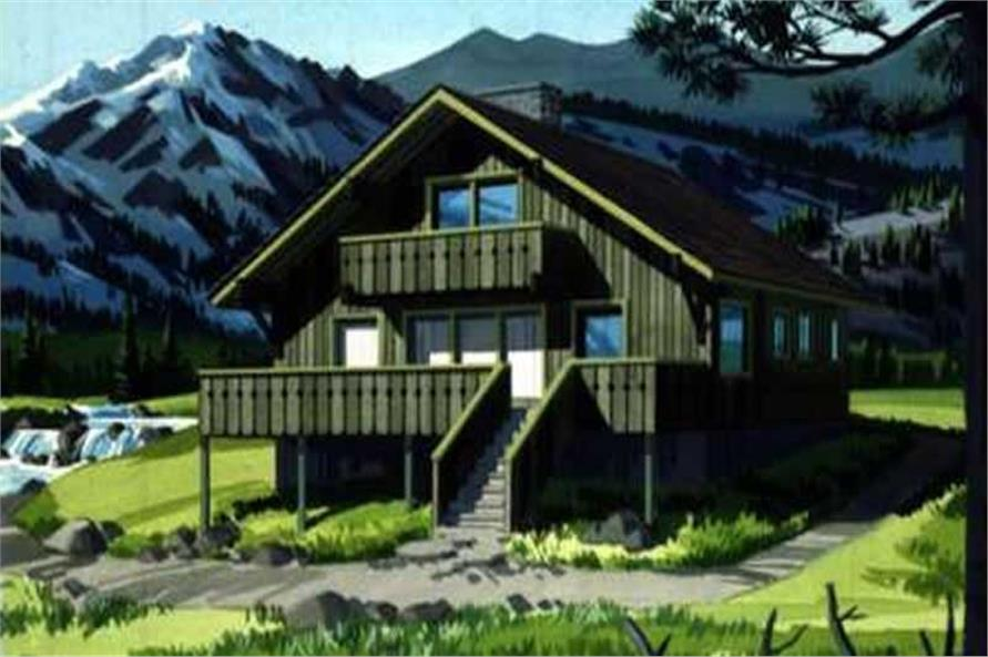 This image is the colored rendering of Vacation Houseplans LS-H-755-5E.