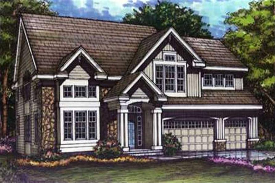 This is the colored elevation of Craftsman House Plans LS-B-93020.