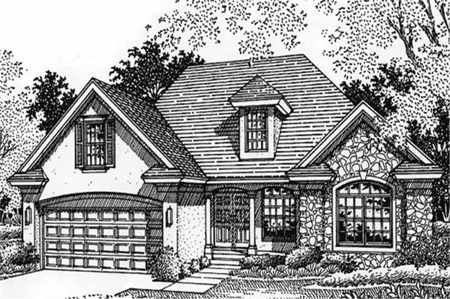 This is the front elevation of European Home Plans LS-B-95001.