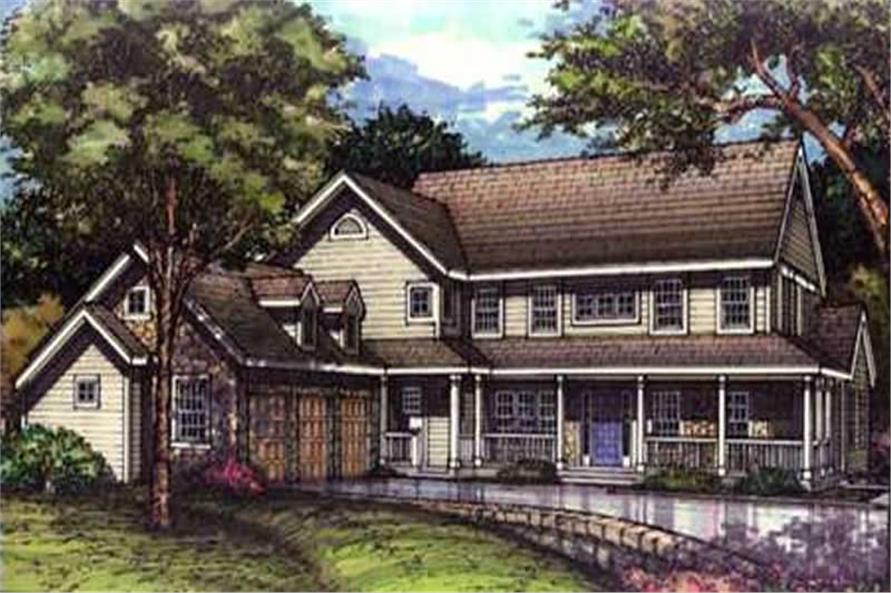 This is the colored elevation of these Farmhouse Houseplans LS-B-93010.
