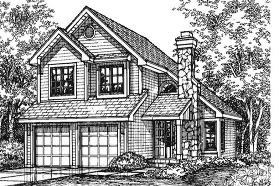 This is the front elevation for Traditional Houseplans LS-B-93004.