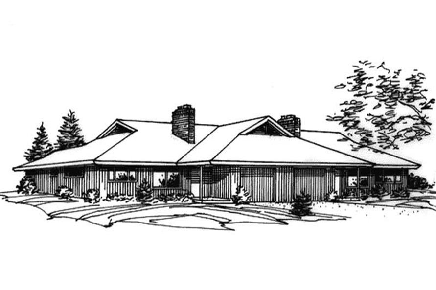 This shows the front elevation of Multi-Unit Houseplans LS-H-588-1A.