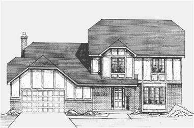 4-Bedroom, 2398 Sq Ft Tudor House Plan - 146-2547 - Front Exterior