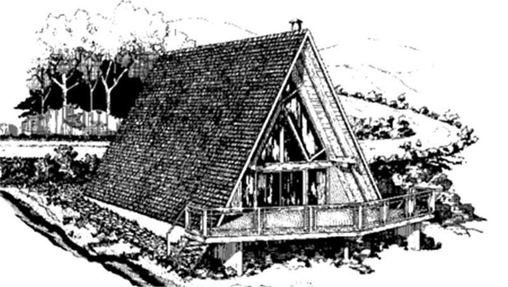 This shows the front elevation of A-frame Home Plans LS-H-6.