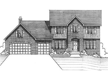 3-Bedroom, 2344 Sq Ft Colonial House Plan - 146-2568 - Front Exterior
