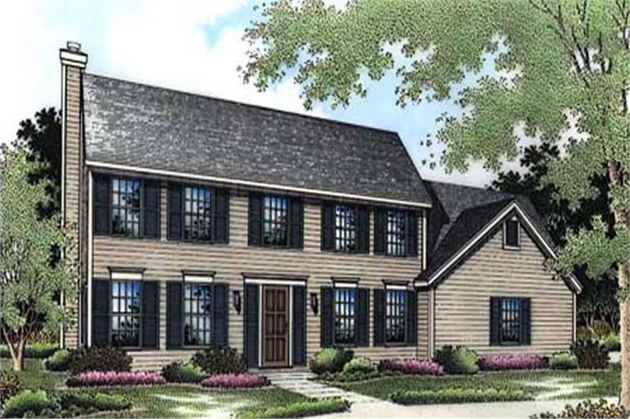 These colored drawings show the front elevation of Colonial House Plans LS-B-94016.