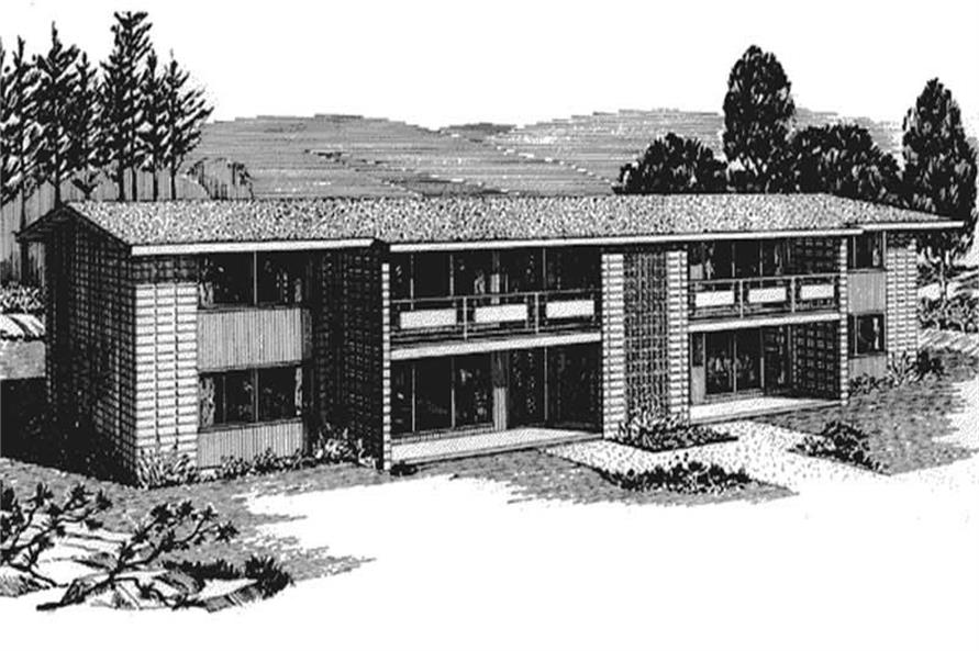 This is the front elevation for Multi-Unit Home Plans LS-H-559-M1A.