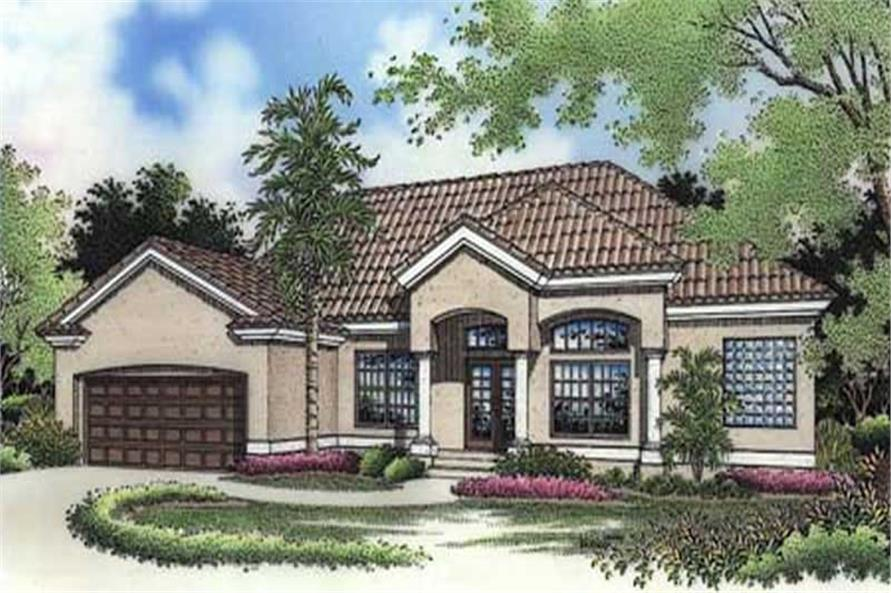 This image shows the colored front rendering of Mediterranean Homeplans LS-B-94014.