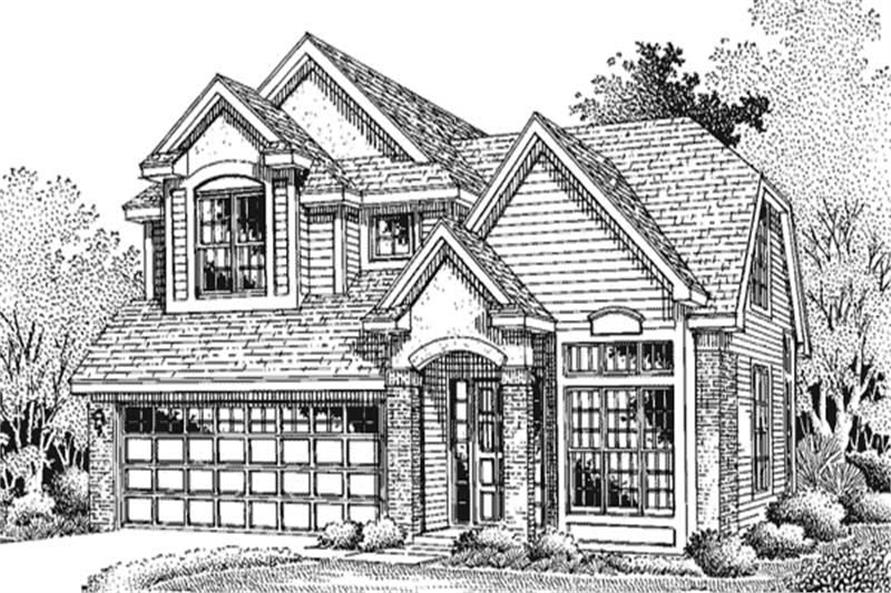 This image shows the front elevation of Country Houseplans LS-B-94025.