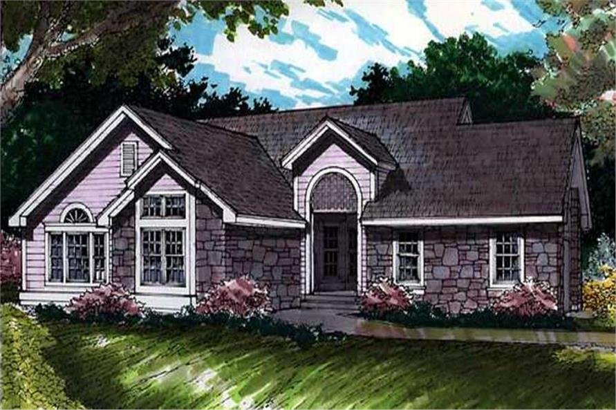 Ranch Houseplans LS-B-91024 colored rendering.
