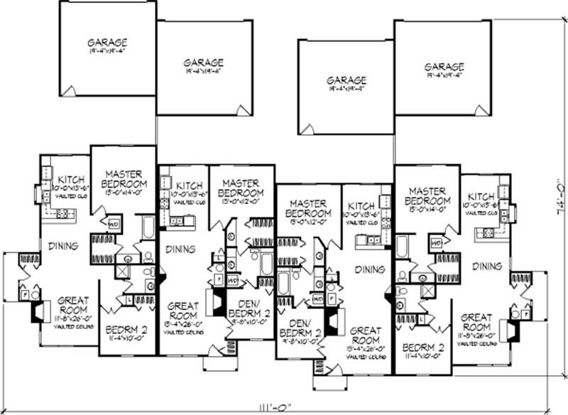 Multi unit house plans home design ls b 1905 21501 for Multi unit house plans