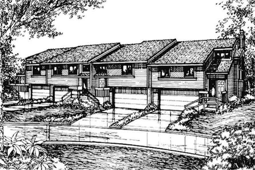 2-Bedroom, 1219 Sq Ft Multi-Unit Home Plan - 146-2685 - Main Exterior