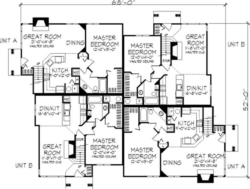 Multi unit house plans home design ls b 1902 21498 for Multi unit house plans