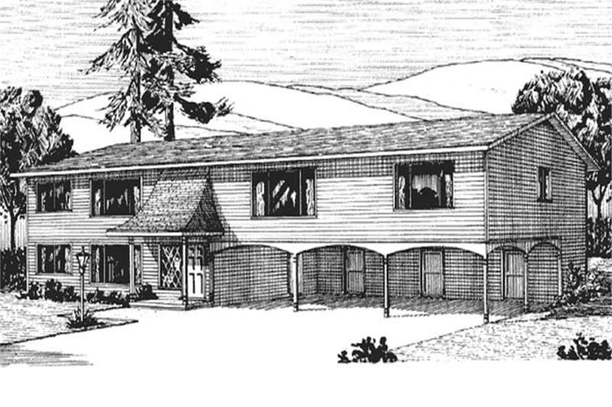 This is the front elevation of Multi Unit House Plans LS-H-561-1A3.