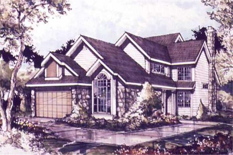 Country Houseplans LS-B-89077 colored front elevation.