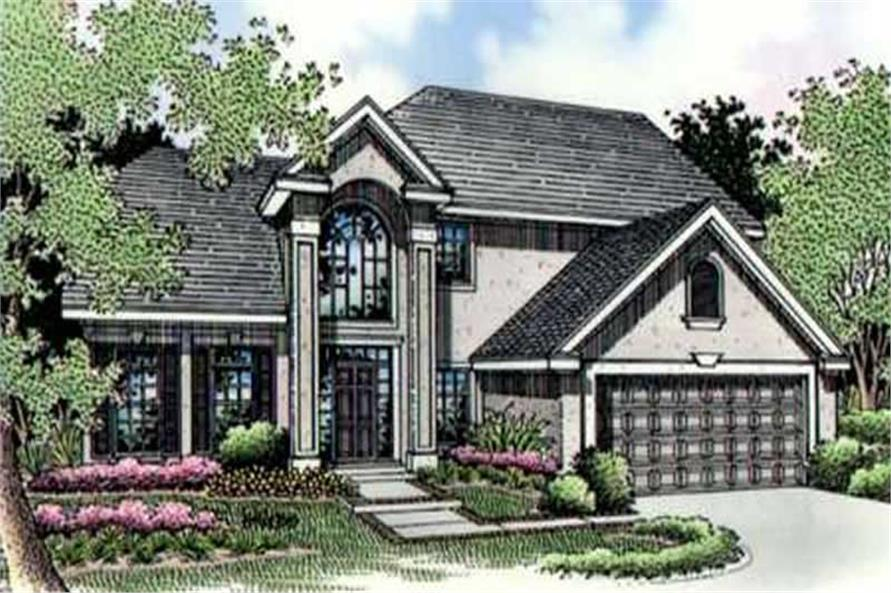 This is  a colored rendering for European House Plans LS-B-95012.