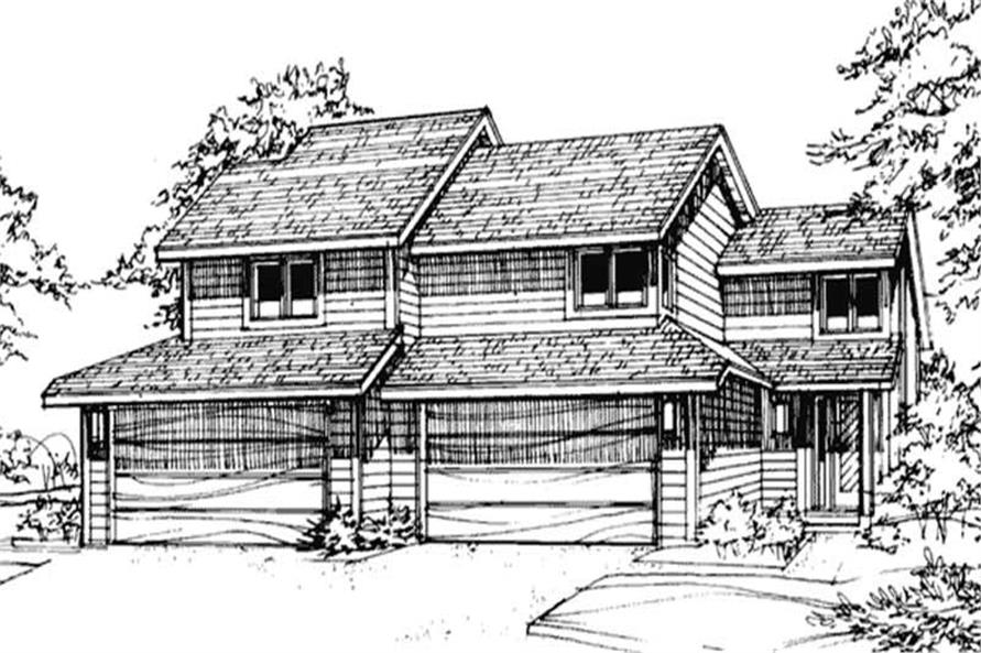 2-Bedroom, 1617 Sq Ft Multi-Unit House Plan - 146-2708 - Front Exterior