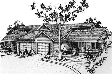 2-Bedroom, 968 Sq Ft Multi-Unit Home Plan - 146-2718 - Main Exterior