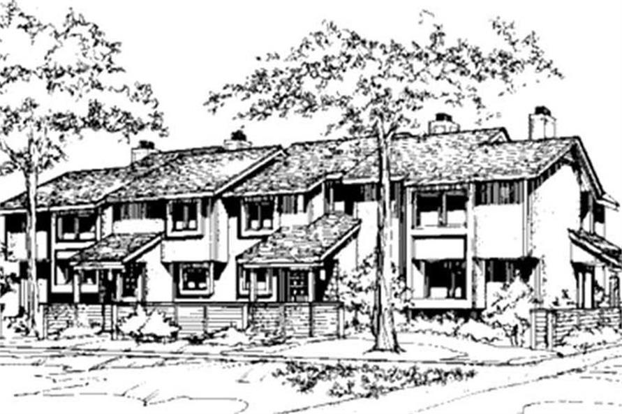 Rendering of Multi-Unit home plan (ThePlanCollection: House Plan #146-2745)