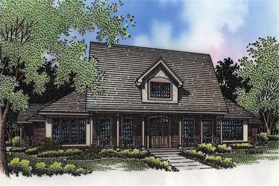 This shows the front elevation of these Southern House Plans LS-B-94011.
