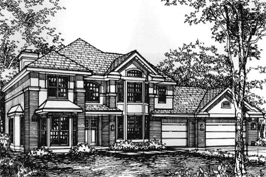This is the front elevation of Contemporary European Homeplans LS-B-92041.