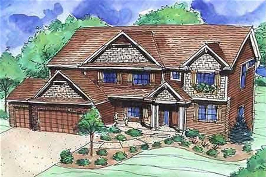 This is a very colorful front rendering of these Traditional Home Plans.