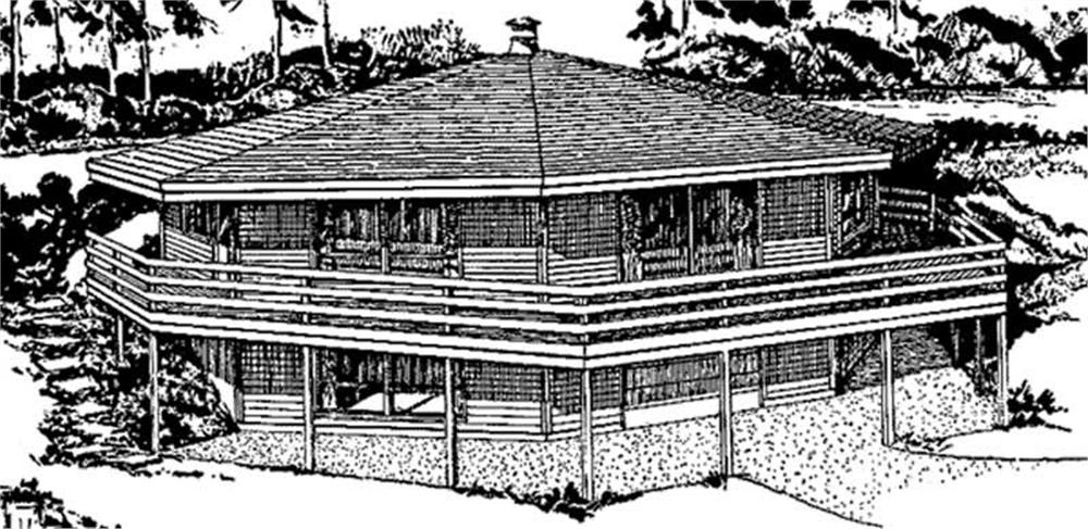 This image shows the front elevation of Vacation Homeplans LS-H-861-2C.