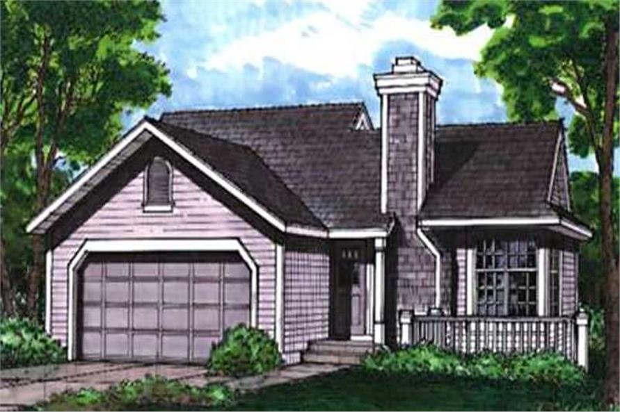 This colored image shows the front elevation of Country Homeplans LS-B-92036.