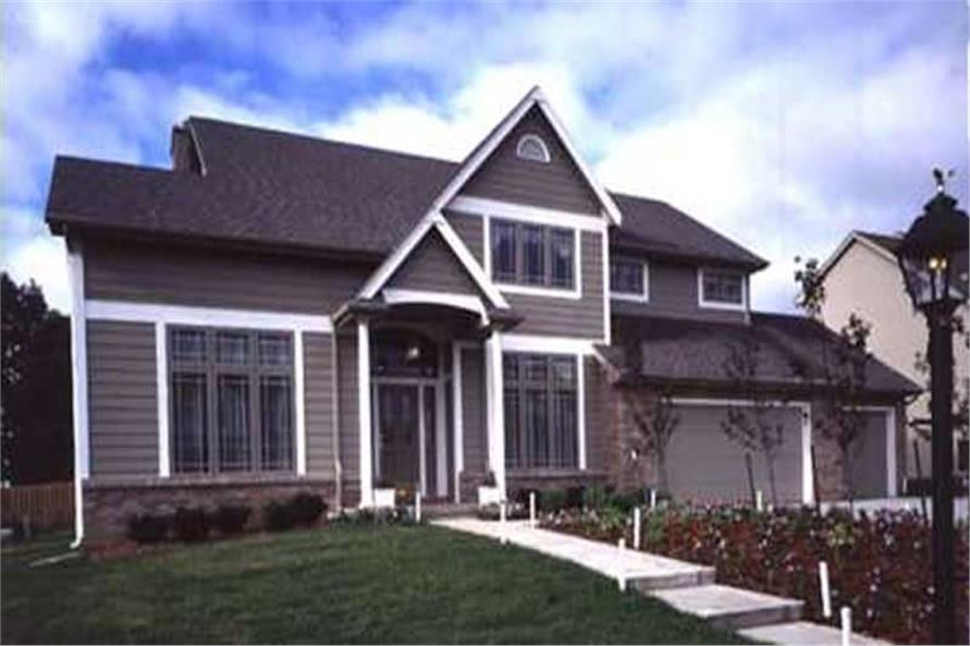 This colored photo shows the front elevation of Country Homeplans LS-B-93026.