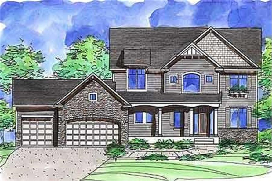 This is a color rendering of these Traditional House Plans
