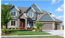 This is a color photo shows the front elevation of these Craftsman Homeplans.