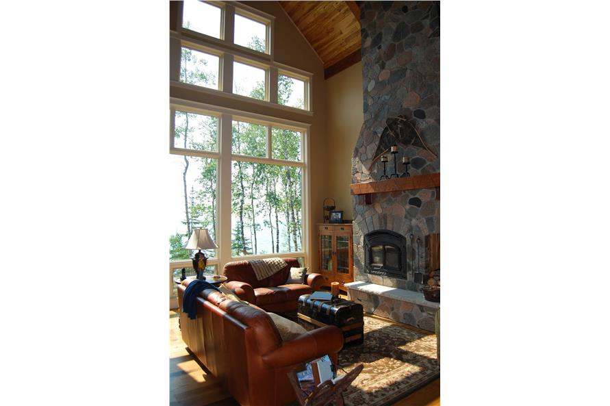 146-2810: Home Interior Photograph-Great Room and Fireplace with View