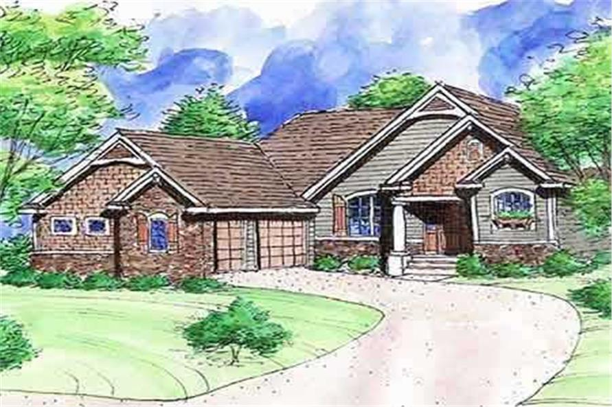 This is the front elevation of these Craftsman House Plans .
