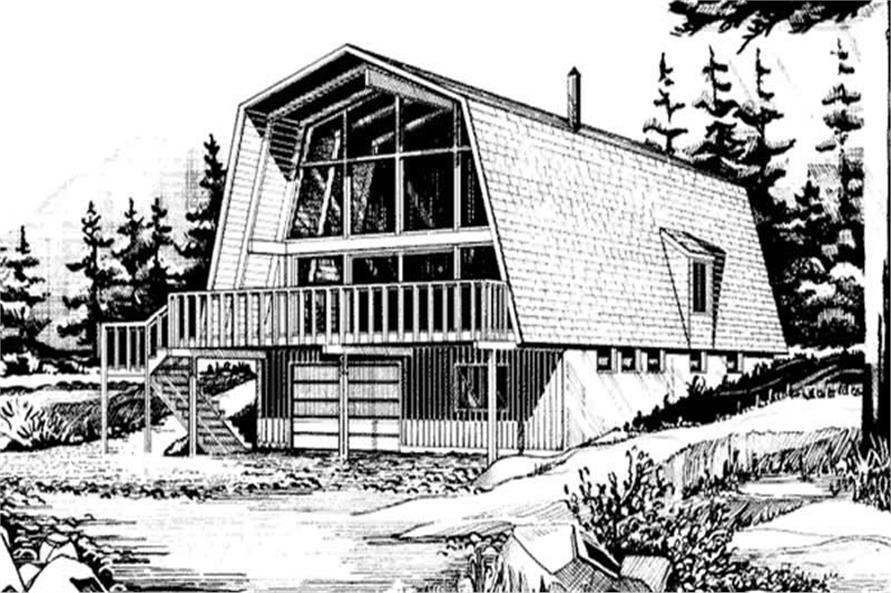 This is a Front elevation of this set of house plans.