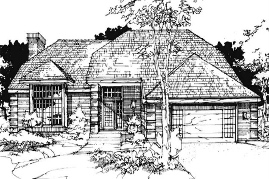 This image shows the French Style of this set of house plans.