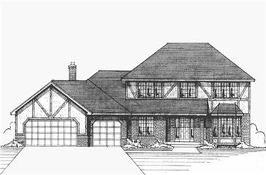 3-Bedroom, 2260 Sq Ft Tudor House Plan - 146-2853 - Front Exterior