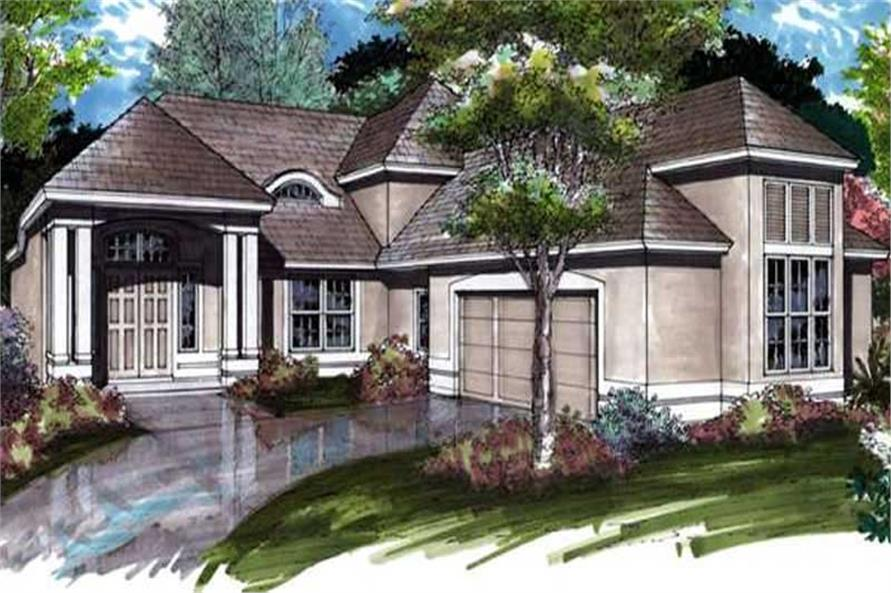This image shows the colored front elevation of Contemporary Home Plans LS-B-91019.