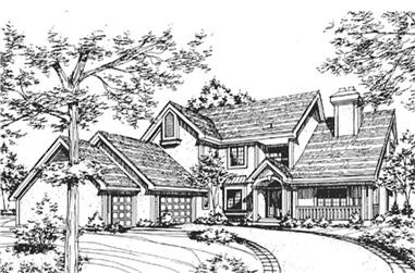 3-Bedroom, 4110 Sq Ft Country House Plan - 146-2862 - Front Exterior