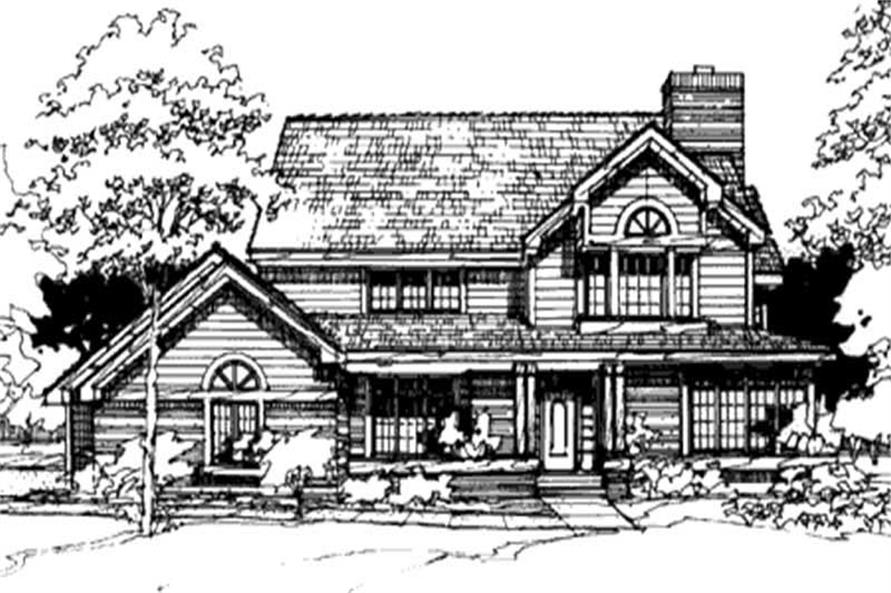This image shows the Country/Farmhouse Style of this set of house plans.